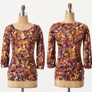 Anthropologie Postmark floral key hole top small